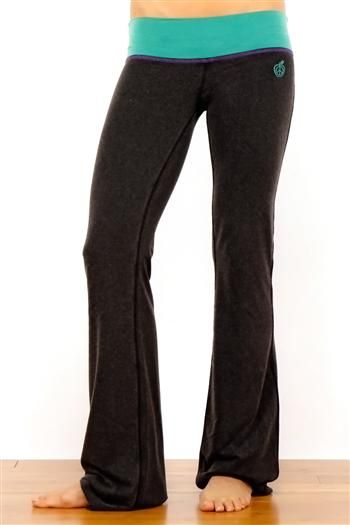 680e6ba3c 33 Balance Fitted Micro Flare Womens Yoga Pants With Vintage Wash in Black  w  Teal by Green Apple. Yoga flare meets fitted legging in our new extra  soft ...