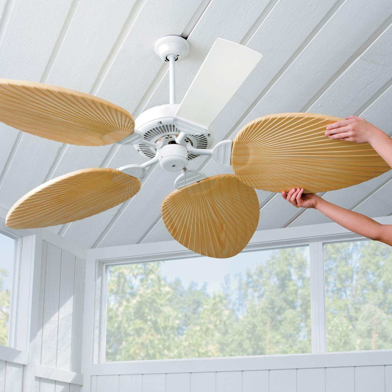 Palm Leaf Ceiling Fan Blades Tropical Home Decor Tropical