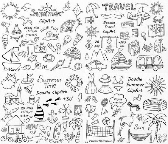 GROS lot de cliparts Doodle d'été, à la main dessinée