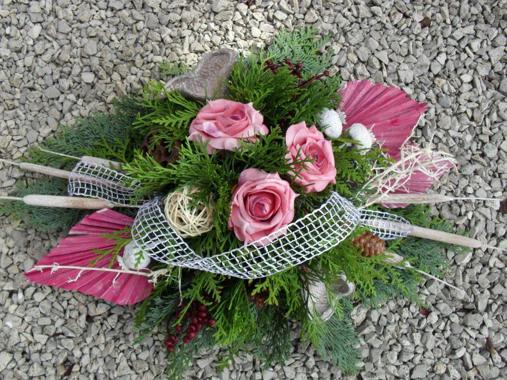 grabgesteck gesteck allerheiligen totensonntag grabschmuck gedenken rosen exoten blumen u. Black Bedroom Furniture Sets. Home Design Ideas