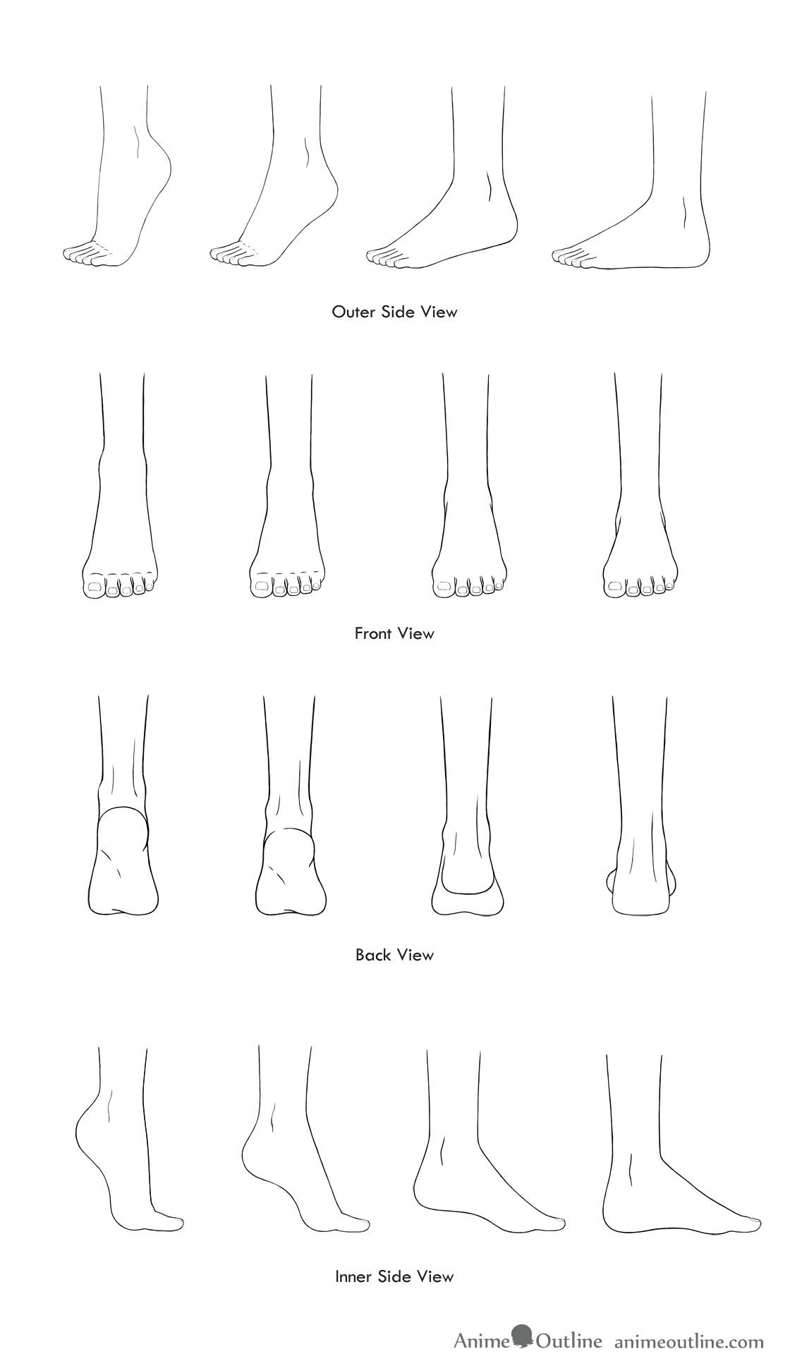 Drawings Of Anime Feet In Different Positions In