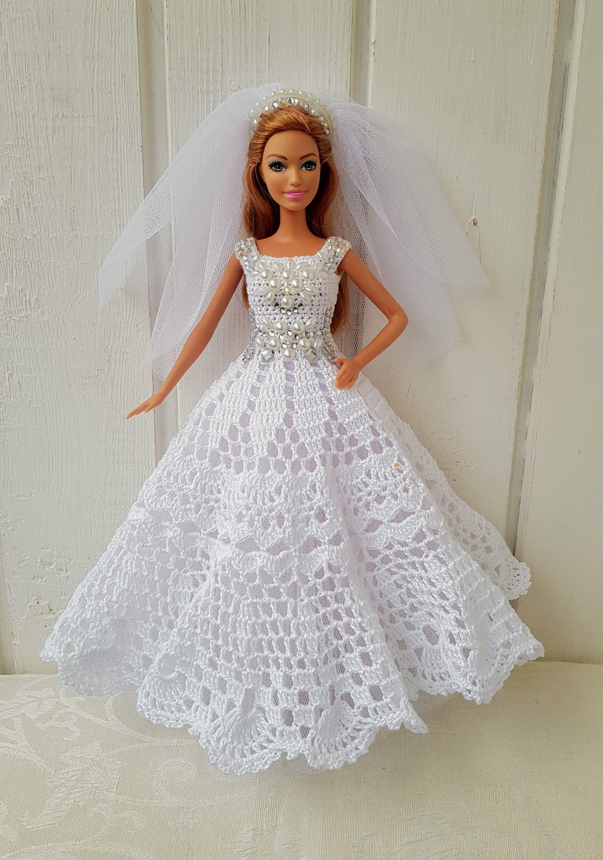 Wedding Dress for Barbie, clothes Barbie, Crochet Dress