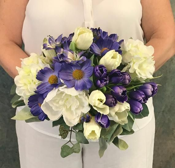 Regency Purple Spring Silk Bridal Bouquet-Purple Blooms Bridal Bouquet-Peonies-Cosmos-Crocus-Tulips-Purple Wedding-Purple Spring Bouquet #bridalbouquetpurple