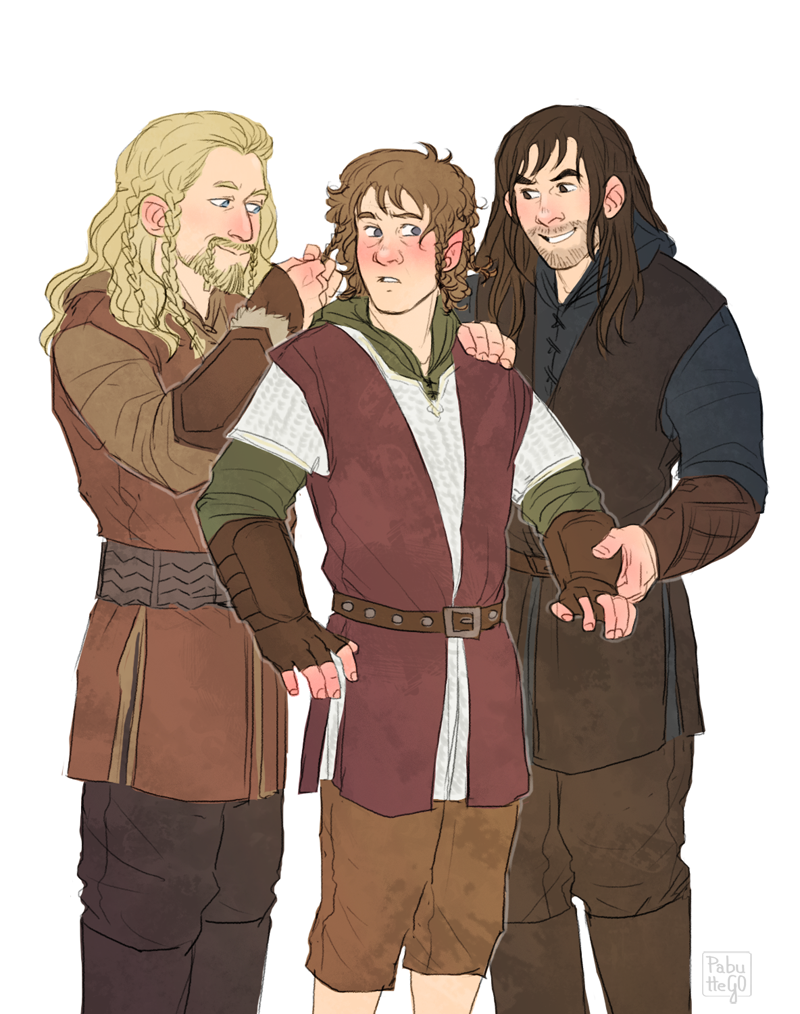 Fili and Kili helping Bilbo get ready for the battle - NO. NO YOU DON'T. I can't even... :'(
