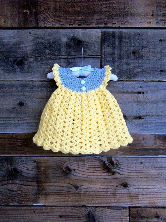 Crochet Yellow and Grey Baby Girl Summer/Fall/Winter ♥ by wadamska, $48.00