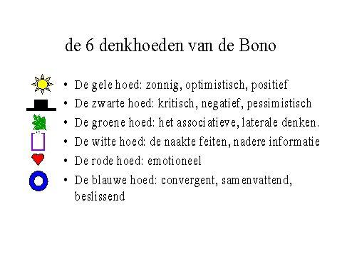 de 6 denkhoeden van Bono