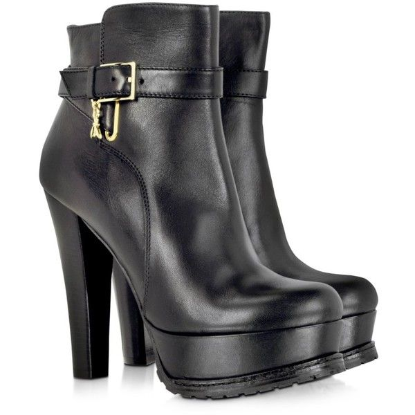 Patrizia Pepe Black Genuine Leather Women's Boots ($193) ❤ liked on Polyvore featuring shoes, boots, ankle booties, heels, ankle boots, botas, heeled booties, black booties, black heel booties and leather ankle boots