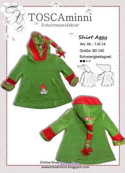 1K14 Kindershirt Shirt Aggy Gr. 80-140 von TOSCAminni E-Books und Schnittmuster für Kindermode auf DaWanda.com