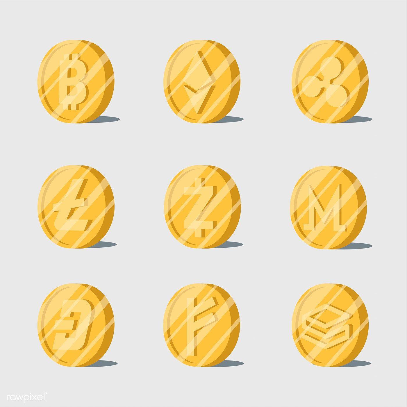Set of various cryptocurrencies electronic cash symbol