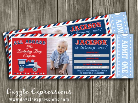 Printable Train Ticket Birthday Invitation First Birthday Party