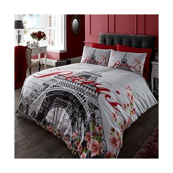 Classic Red Black And White Eiffel Tower Uk Double Usa Full Duvet Liked On Polyvore Featuring H Paris Themed Bedroom Paris Bedding Paris Decor Bedroom