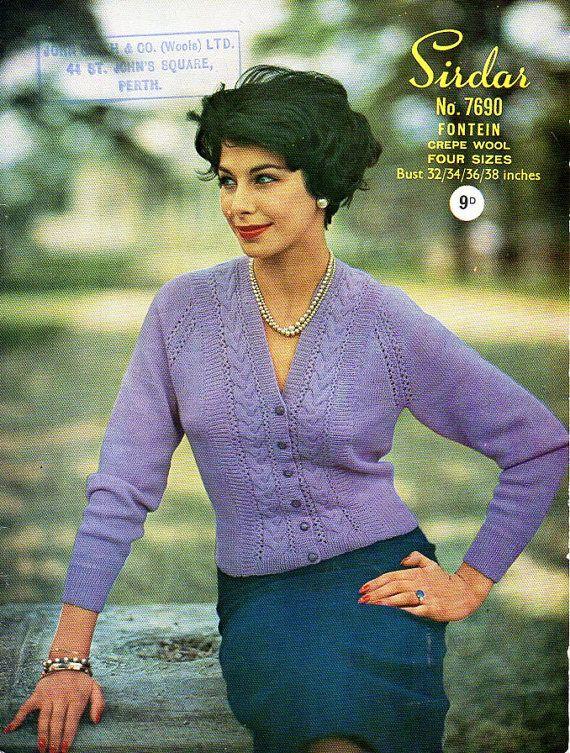 Ladies Cardigan Knitting Pattern Vintage 60s Womens Jacket Pattern