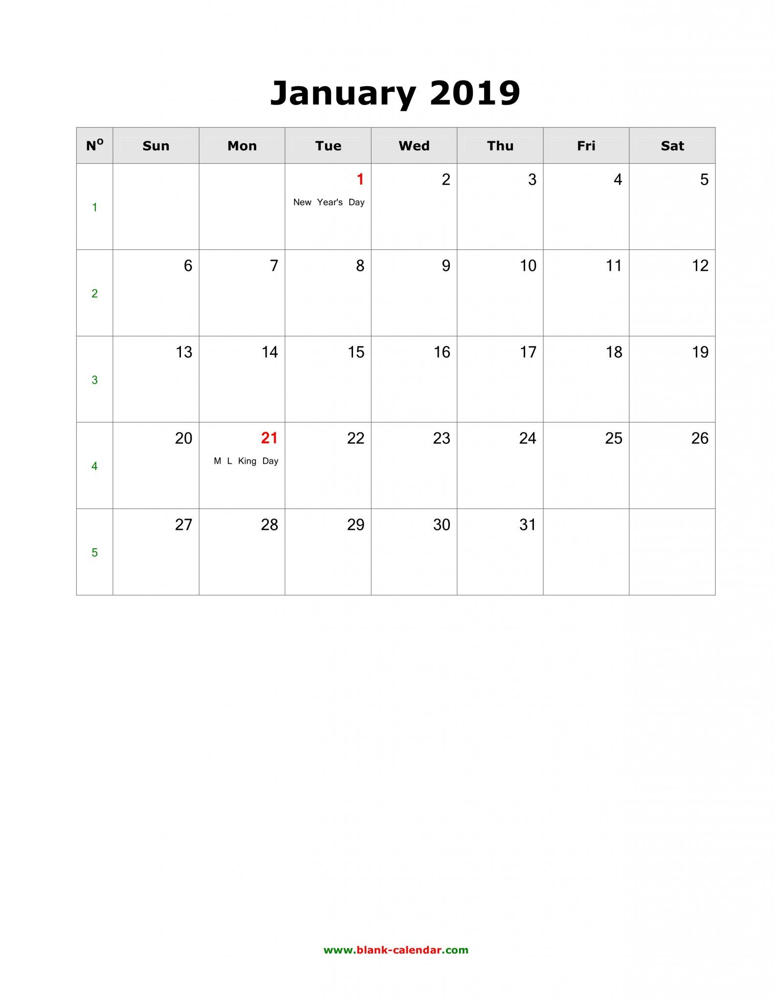 January 2019 Portrait Calendar Blank January 2019 Calendar