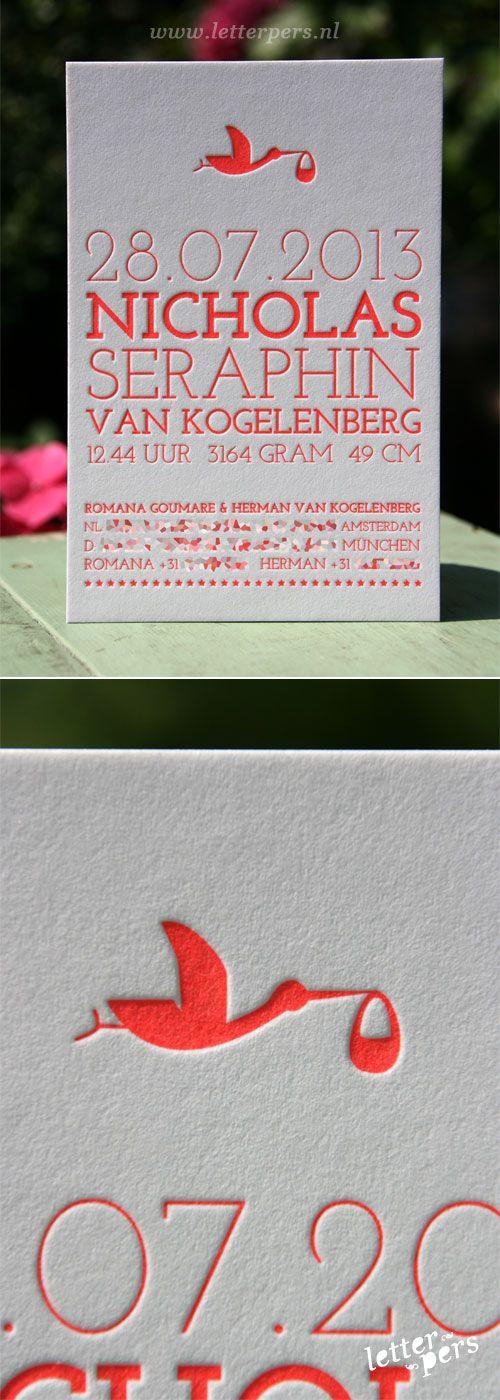 letterpers_letterpress_geboortekaartje_Nicholas_rood_fluor_neon_typografisch