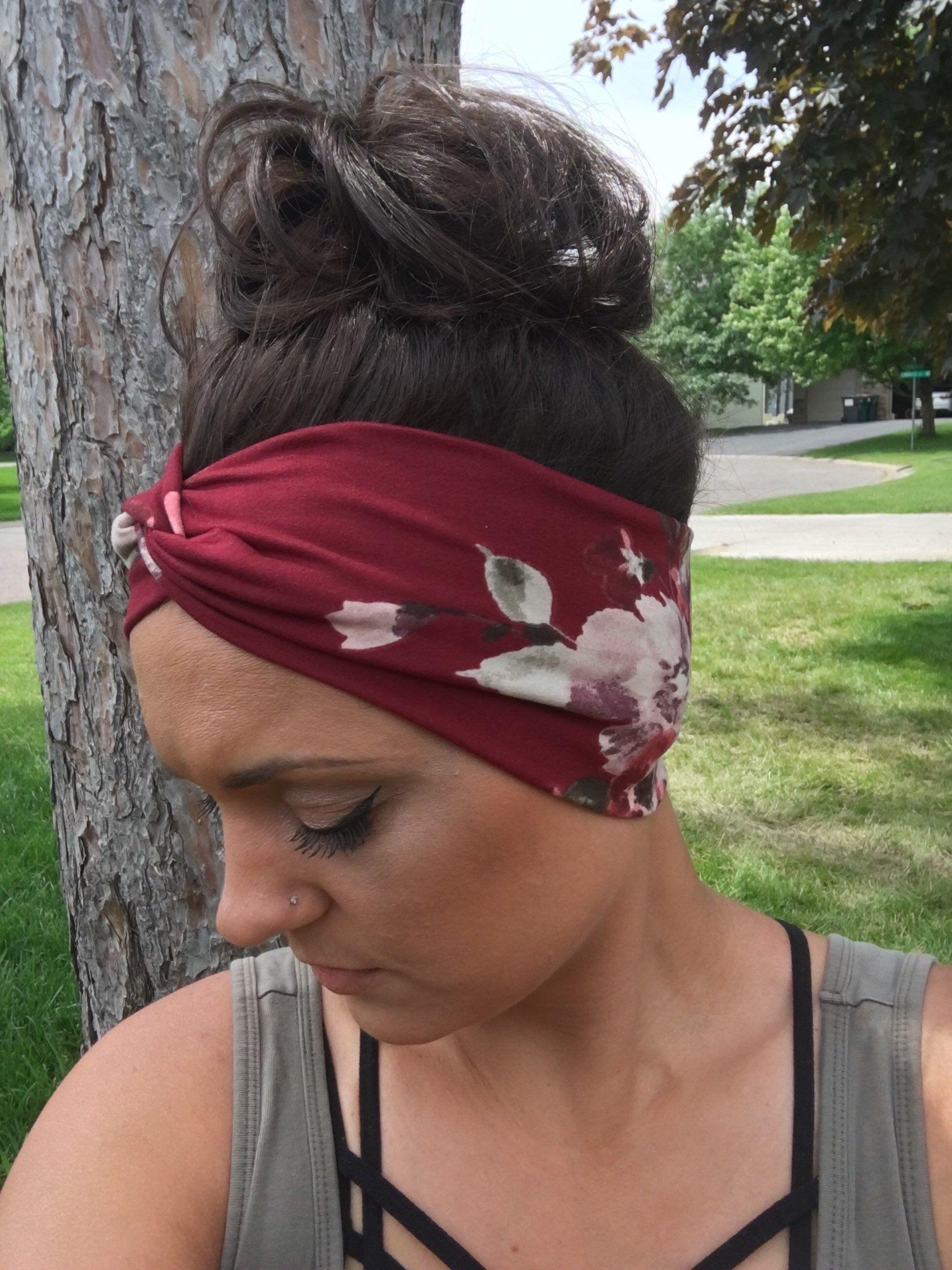 Adult burgundy floral twisted headband, turban headband,yoga headband,boho headband,adult headband, head wrap,twist headband