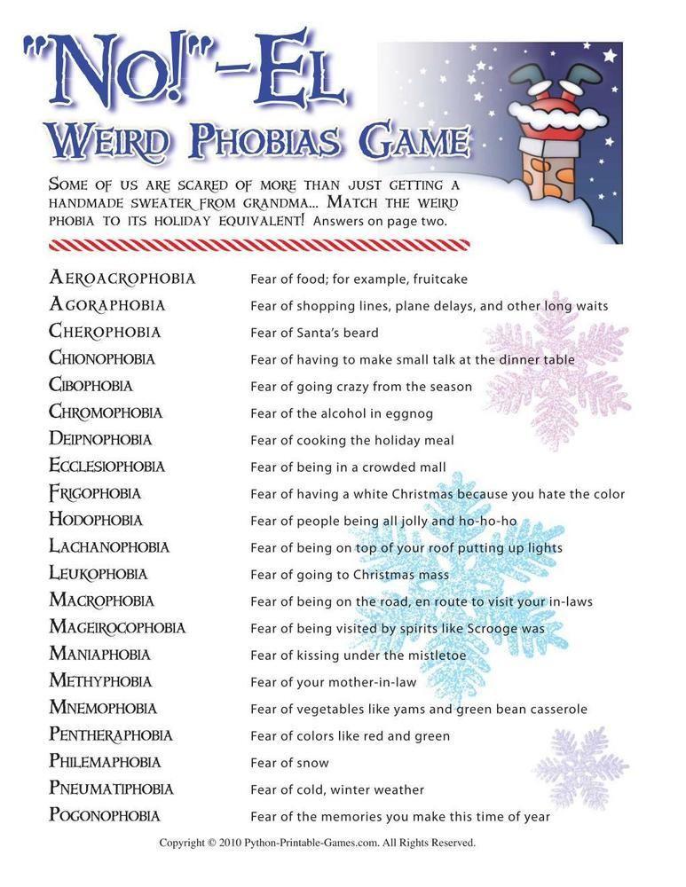 Christmas NO!El Weird Phobias, 6.95 Printable