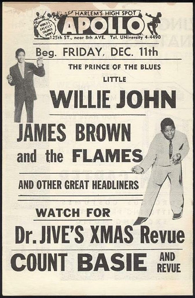 Classic Apollo Theater Poster: Little Willie John, and James Brown & The  Flames   James brown, Vintage concert posters, Band posters