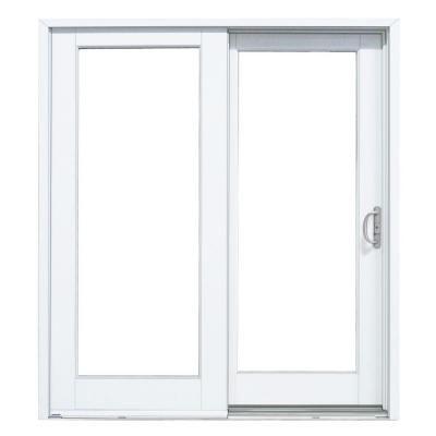 Masterpiece 59 1 4 In X 79 1 2 In Composite White Right Hand Sliding Patio Door With Woodgrain Interior Patio Doors Sliding Patio Doors Folding Patio Doors