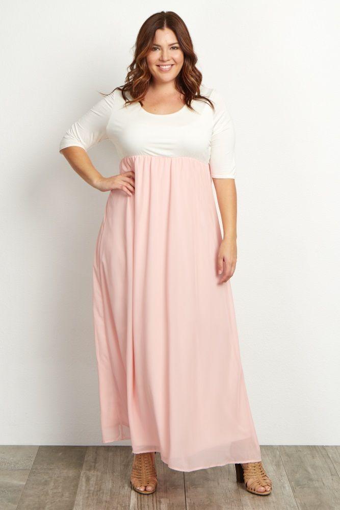 7d22058b0c1a0 Light Pink Chiffon Colorblock Plus Maternity Maxi Dress | Jo's ...