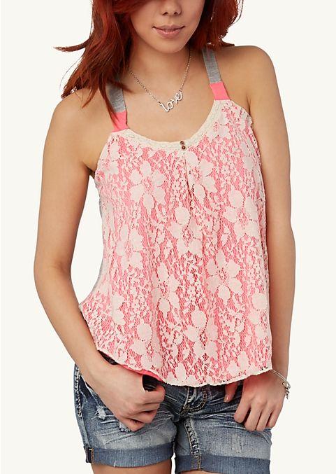 Neon Crochet Swing Tank Fashion Rue21 The Look Fashion