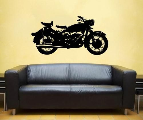 Classic Motorcycle vinyl Wall DECAL harley davidson interior design ...