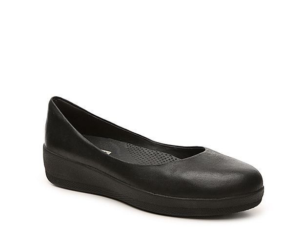 119592345 Women FitFlop Super Ballerina Leather Ballet Flat -Black