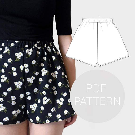 Womens High Waisted Shorts PDF Printable Sewing Pattern Best High Waisted Shorts Pattern