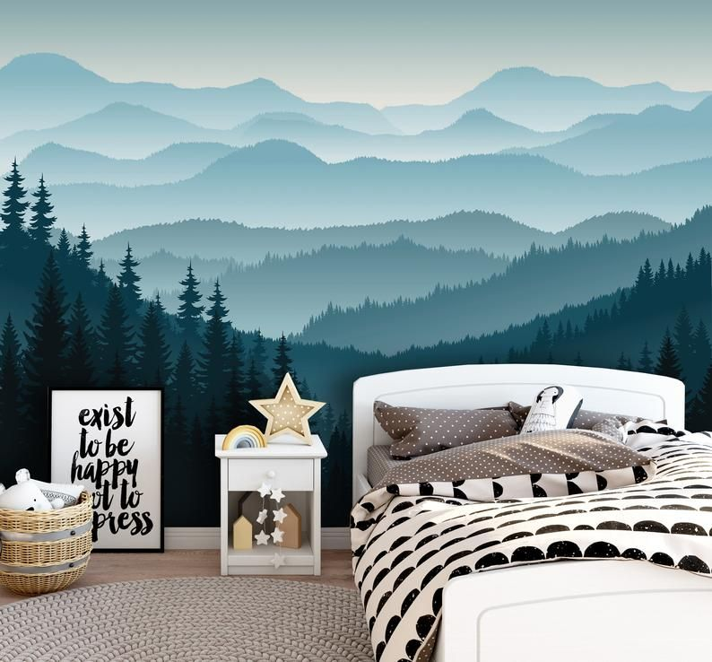 Removable Peel N Stick Wallpaper Self Adhesive Wall Etsy In 2021 Mountain Mural Boys Bedroom Wallpaper Peel N Stick Wallpaper