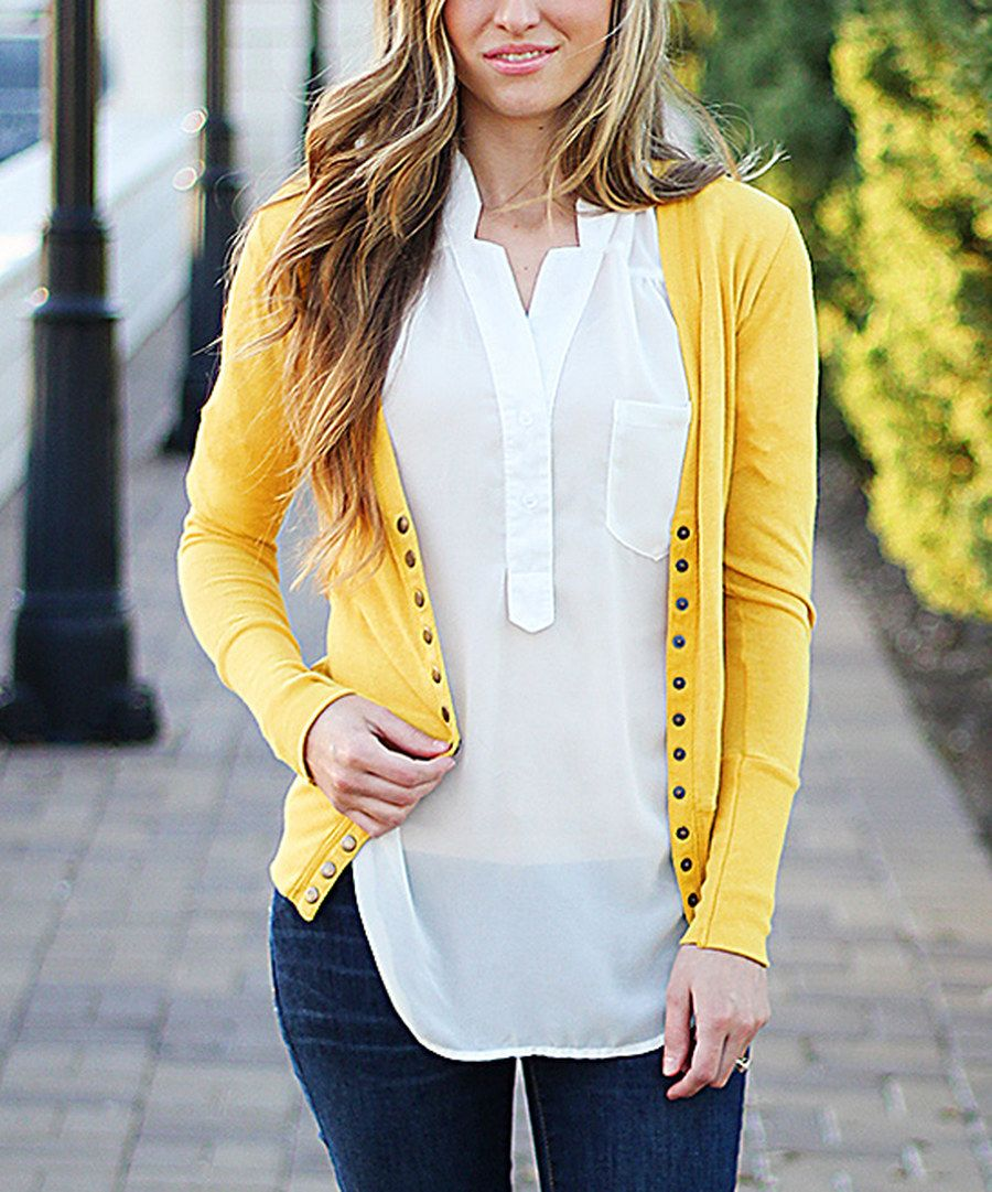 So Perla Mustard Snap Cardigan on #zulily *love the bright yellow ...