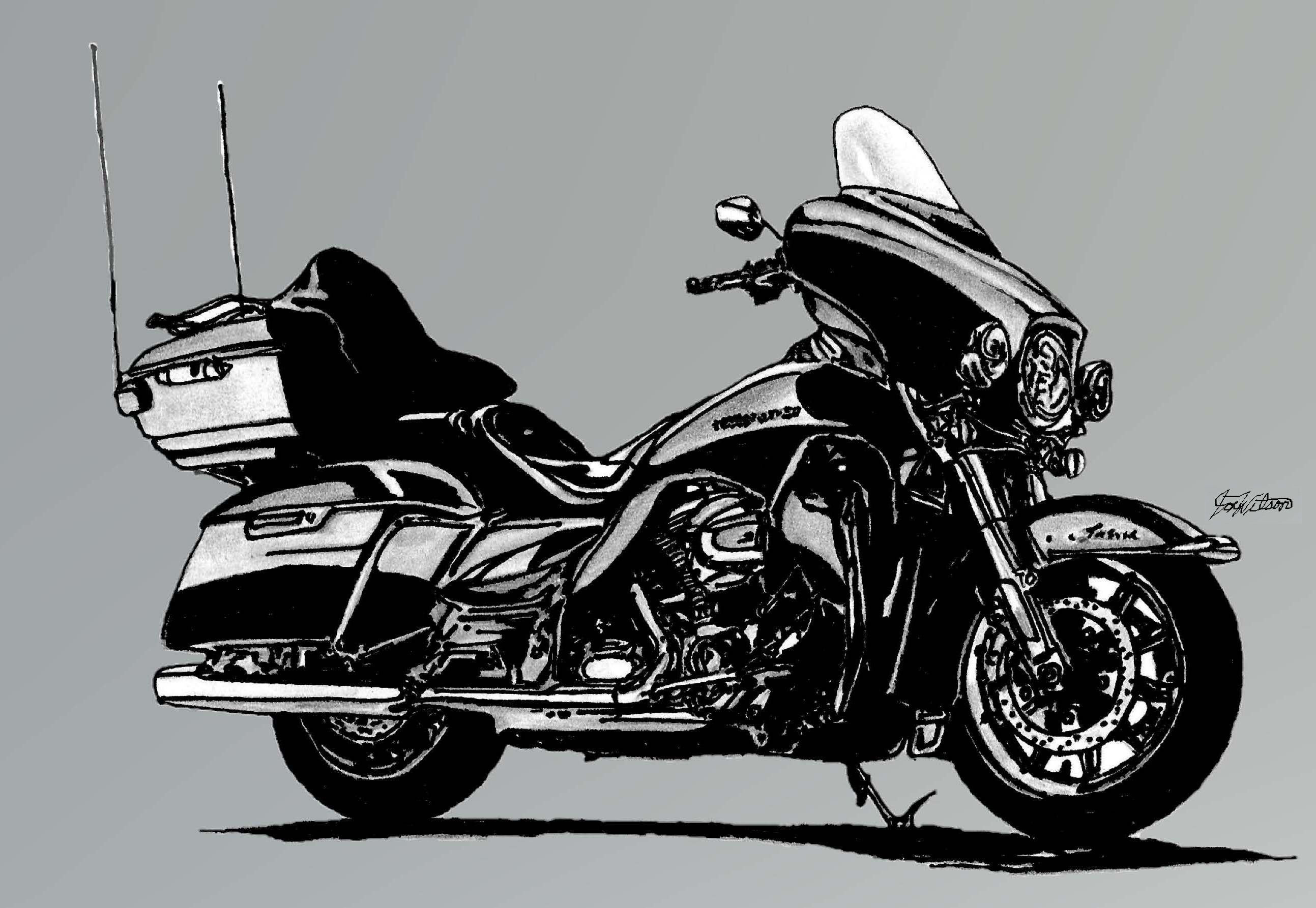 Motorcycle drawn with pencil, sharpie and digitally touch up