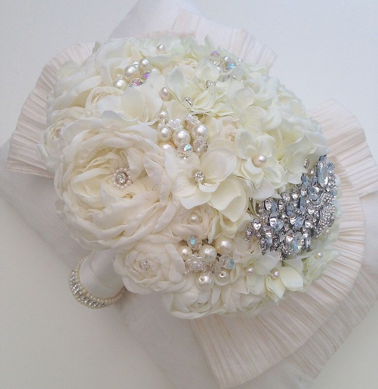 Brooch Fabric wedding Bouquet,hand made David Austin inspired ivory roses with silk hydrangeas, diamantes, pearls and Swarovski Crystals by InLoveBouquet on Etsy https://www.etsy.com/listing/191869693/brooch-fabric-wedding-bouquethand-made