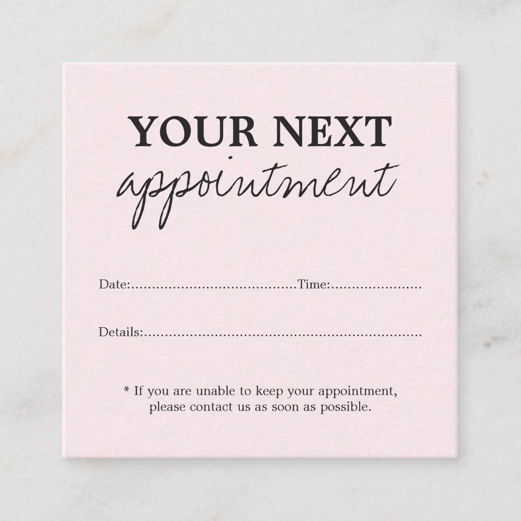 Simple Elegant Light Rose Beauty Appointment Card #estheticianroomideas
