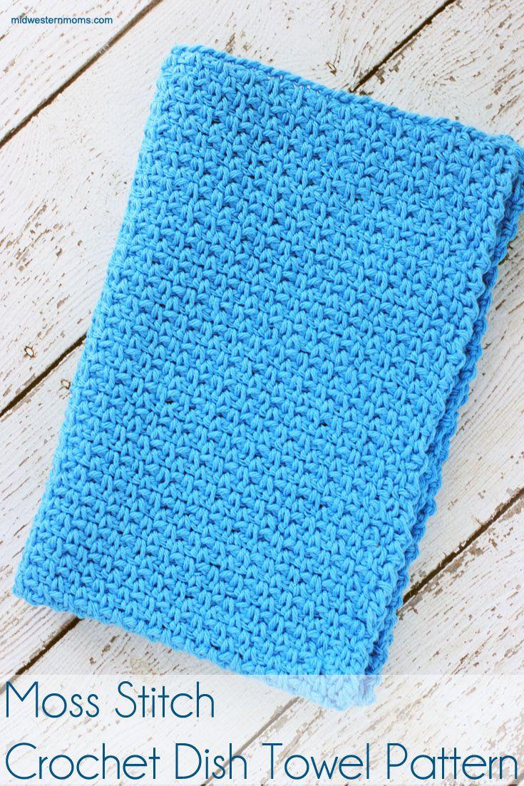 Moss Stitch Crochet Dish Towel Pattern   Pinterest   Häkelschrift ...