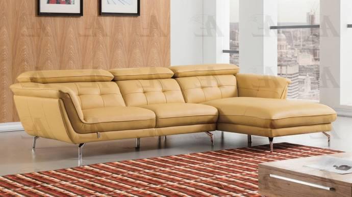 American Eagle Furniture Ek L083 Yo Sectional Sofa Right Hand Chase Italian Leather 2pcs Ek L083 Yo Set 2 Rhc Buy Online Sectional Sofa Yellow Leather Sofas American Leather Sofa