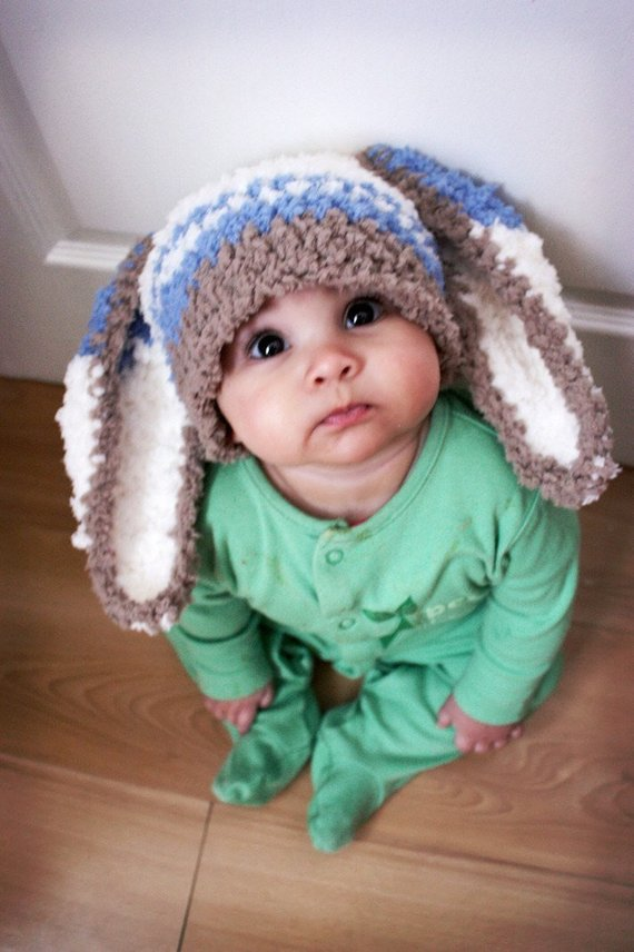 5d50a8ee9e17ef 2T to 4T Toddler Boy Bunny Ears Hat, Crochet Childrens Rabbit Hat in Brown  and Cream with Blue Strip