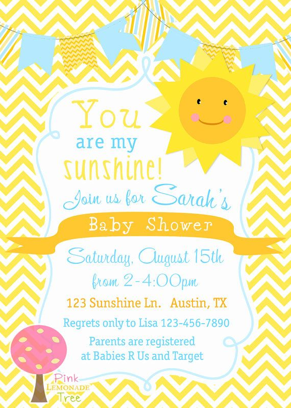 you are my sunshine baby shower invitation, yellow chevron, yellow, Baby shower invitation