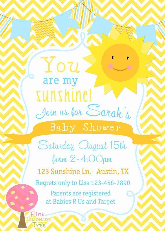 You Are My Sunshine Baby Shower Invitation Yellow Chevron