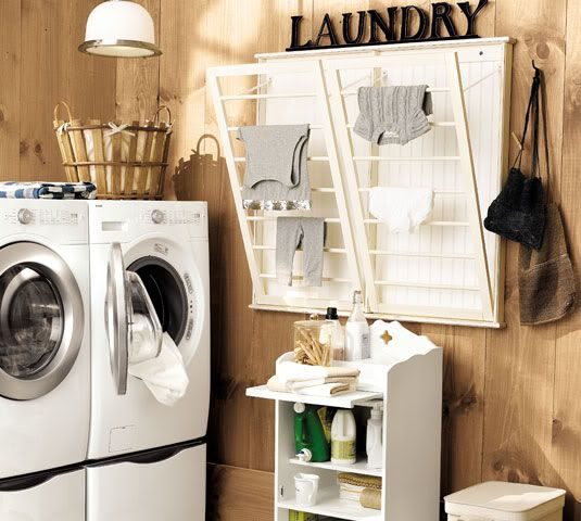 Perfect laundry room with drying rack