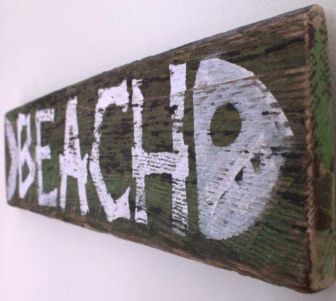 Beach Sign Wooden with Original Art Design on von MangoSeed auf Etsy, $24,00