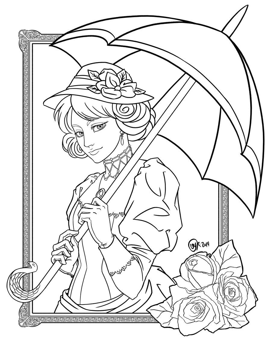 Victoria coloring dresses victorian clothes colouring pages page 2 - T T Victorian Lady Holding Umbrella Corner Rose