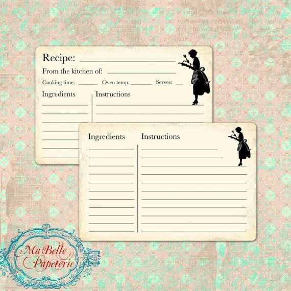 Recipe Cards Retro Style Double Sided Recipe by MaBellePapeterie - double recipe cards