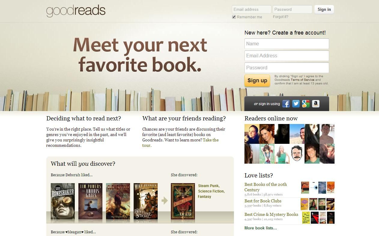 Chega de Facebook: Goodreads | B l o g | Cool websites