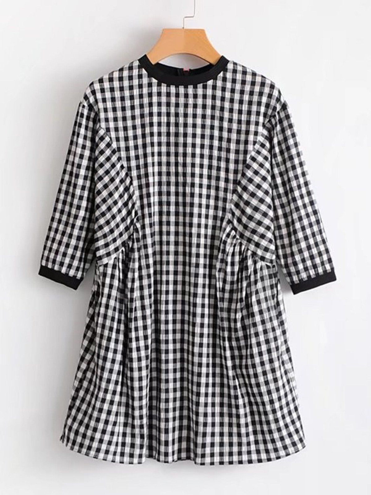 Dresses by borntowear zipper back gingham babydoll dress dresses