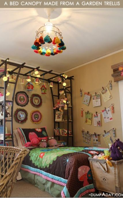 Bed canopy made from a garden trellis                                                                                                                                                                                 More