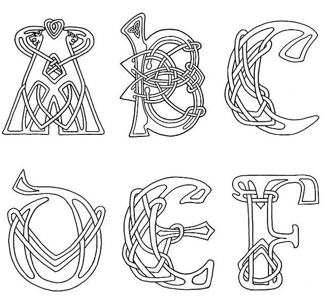 free celtic symbols coloring pages | clipart celtic letters | Celtic alphabet, Celtic fonts ...
