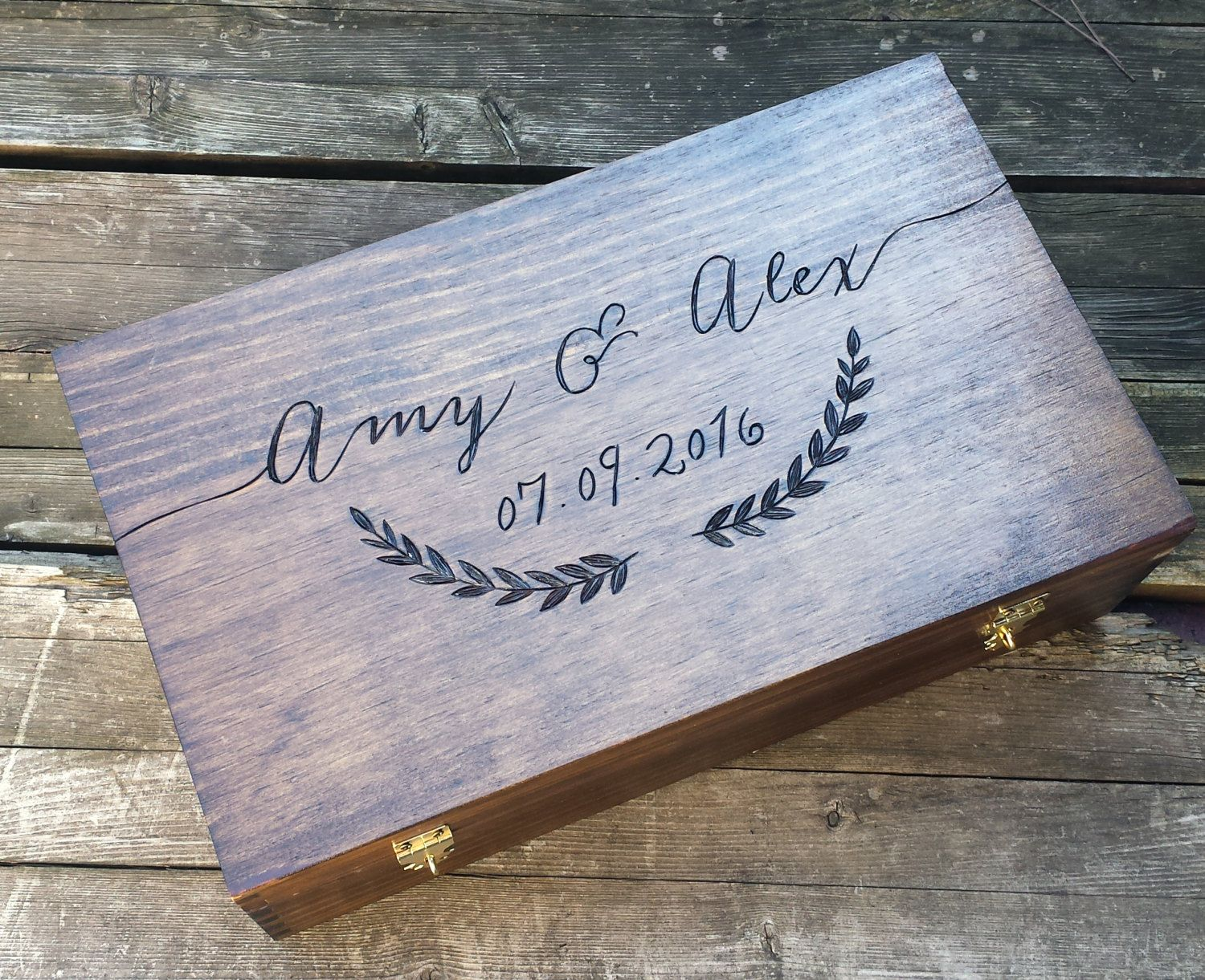 Wedding Gift For Wine Box Double Memory Advice Card Personalized Laurel Shower