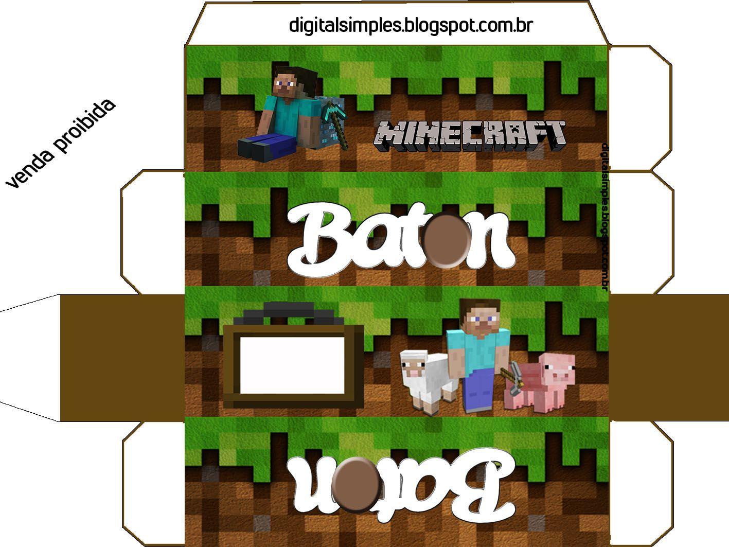 """Letras Minegraft Fazendo A Nossa Festa: Festa Aniversário Digital """"Minecraft"""" Para Imprimir"""