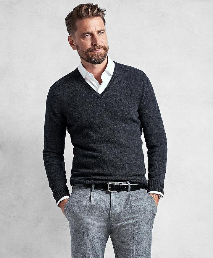Golden Fleece® 3-D Knit Cashmere Raglan V-Neck Sweater  bfa79ef60