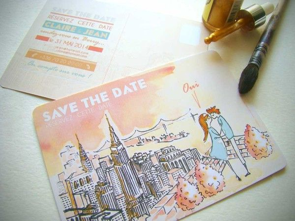 #save the date #New York #aquarel #illustration #garden roof #roof top