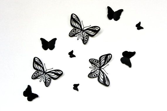 Pop Up Black Butterflies Butterfly Wall Art Paper by MyDreamDecors ...